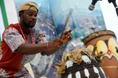 Drummer at The Yoruba drum festival, Abeokuta.